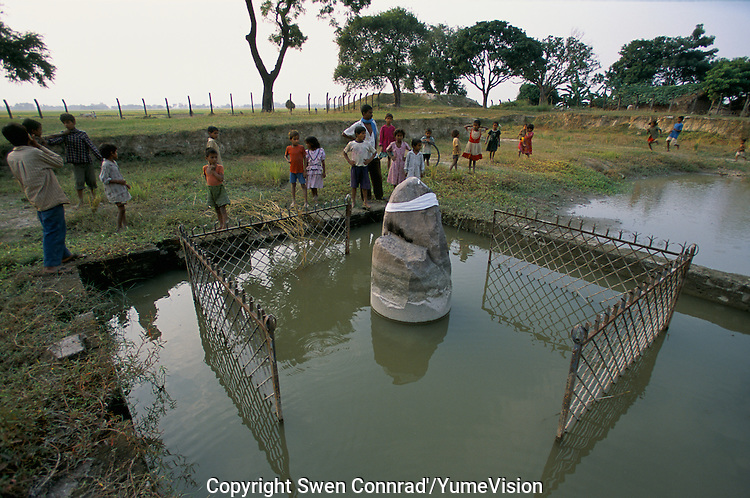 The second stone Pillar erected in 249 BC by Emperor Ashok at 20 Kilometres of Lumbini.  In 1976, the Nepalese Government and UNESCO designated Lumbini as a world heritage site..-The full text reportage is available on request in Word format