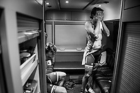 Friends/teammates Koen de Kort (NED/Trek-Segafredo) &amp; John Degenkolb (DEU/Trek-Segafredo) just returned in the teambus after a hard day of racing. <br /> They performed strong as a collective, but without a podium result this year.<br /> <br /> 108th Milano - Sanremo 2017