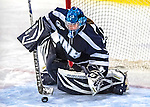 2 February 2013: University of New Hampshire Wildcat goaltender Marie-Eve Jean, a Freshman from Gatineau, Quebec, in 3rd period action against the University of Vermont Catamounts at Gutterson Fieldhouse in Burlington, Vermont. The Lady Wildcats defeated the Lady Catamounts 4-2 in Hockey East play. Mandatory Credit: Ed Wolfstein Photo