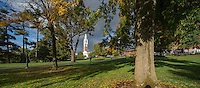 View of the Ira Allen Chapel from the UVM Green, Fall UVM Campus