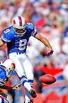 11 September 2005: Rian Lindell, kicker for the Buffalo Bills, completed 5 successful fieldgoals and one touchdown conversion, in a game against the Houston Texans on September 11, 2005.  The Bills, wearing their 60s throwback uniforms, defeated the Texans 22-7, winning their first game of the season at Ralph Wilson Stadium in Orchard Park, NY.<br />