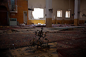 TAFTANAZ, SYRIA: The interior of a mosque that was destroyed by shelling...A violent struggle between the Free Syrian Army and the Assad regime has been going on for over a year...Photo by Rachel Beth Anderson/Metrography
