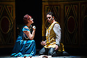 London, UK. 15.10.2014. English Touring Opera presents OTTONE, by George Frideric Handel, directed by James Conway, at the Hackney Empire. Picture shows:  Gillian Webster (Gismonda) and Andrew Radley (Adelberto). Photograph © Jane Hobson.