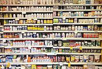 Vitamin shelf of a health food store.