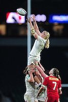 Tamara Taylor of England wins the ball at a lineout. Old Mutual Wealth Series International match between England Women and Canada Women on November 26, 2016 at Twickenham Stadium in London, England. Photo by: Patrick Khachfe / Onside Images