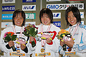 (L to R) .Shiho Sakai, .Sayaka Akase, .Marie Kamimura, .FEBRUARY 11, 2012 - Swimming : .The 53rd Japan Swimming Championships (25m) .Women's 200m Backstroke Victory Ceremony .at Tatsumi International Swimming Pool, Tokyo, Japan. .(Photo by YUTAKA/AFLO SPORT) [1040]