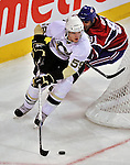 21 September 2009: Pittsburgh Penguins' defenseman Simon Despres (59) controls the puck during a pre-season game against the Montreal Canadiens at the Bell Centre in Montreal, Quebec, Canada. The Canadiens edged out the defending Stanley Cup Champions 4-3. Mandatory Credit: Ed Wolfstein Photo