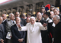 "Pope Benedict XVI disembarks from a train in Assisi station upon arrival to attend the interreligious talks, a ""journey of reflection, dialogue and prayer for peace and justice in the world"" held in St. Francis of Assisi's birthplace,  October 27, 2011 in Assisi.Italy"