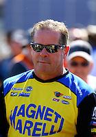 Jul. 27, 2014; Sonoma, CA, USA; NHRA pro stock driver Allen Johnson during the Sonoma Nationals at Sonoma Raceway. Mandatory Credit: Mark J. Rebilas-