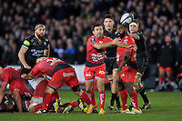Eric Escande of Toulon passes the ball. European Rugby Champions Cup match, between Bath Rugby and RC Toulon on January 23, 2016 at the Recreation Ground in Bath, England. Photo by: Patrick Khachfe / Onside Images