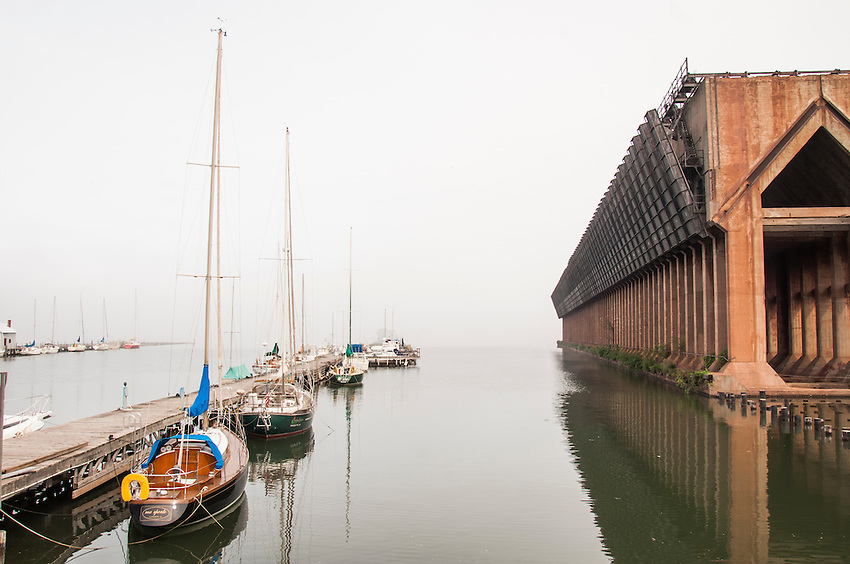 Foggy morning over the Lake Superior harbor of Marquette Michigan.