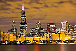 Chicago at night with Willis Tower building (formerly Sears Tower) along Lake Michigan