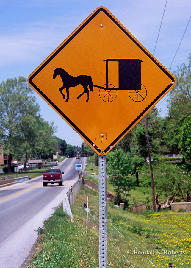 A road sign warns motorists of Amish buggy traffic in Lancaster County, Pennsylvania