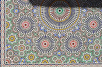 Berber Arabesque zallige tiles  of the Marrakesh museum in the Dar Menebhi Palace, Marrakesh, Morocco