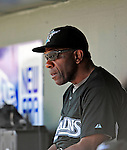16 March 2009: Florida Marlins' coach and former MLB player Andre Dawson watches from the dugout during a Spring Training game against the Washington Nationals at Roger Dean Stadium in Jupiter, Florida. The Nationals defeated the Marlins 3-1 in the Grapefruit League matchup. Mandatory Photo Credit: Ed Wolfstein Photo