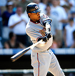 26 August 2007:  Washington Nationals outfielder Nook Logan at bat against the Colorado Rockies at Coors Field in Denver, Colorado. The Rockies defeated the Nationals 10-5 to sweep the 3-game series...Mandatory Photo Credit: Ed Wolfstein Photo