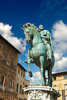 The &quot;bronze equestrian statue of Cosimo I&quot; by Giambologna (1594), Piazza della Signoria in Florence, Italy,