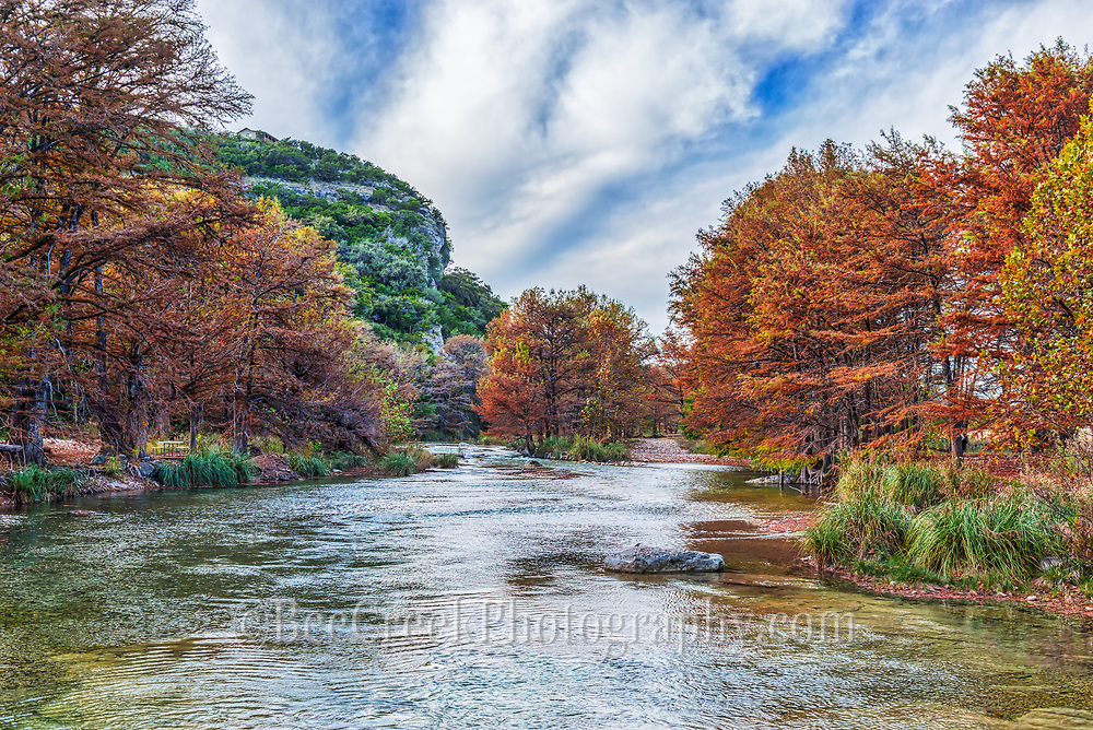 We came back here again because of the beauty of this place with blue skys and white clouds wihich contrast agains the green on the hill side and the stunning fall foliage on the cypress trees on the frio river.  The Frio River flows through the canyons in Con Can Texas.
