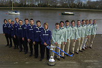 PUTNEY, LONDON, ENGLAND, 06.03.2006, Both crews line up on the foreshore at Putney Oxford left and Cambridge right., 2006 Presidents Challenge and Boat Race Crew announcement   © Peter Spurrier/Intersport-images.com..CUBC, Bow Luke Walton, No. 2 Tom Edwards, No.3 Sebastian Thormann, No 4. Thorsten Englemann, No.5 Sebastian Schulte, No.6 Kieran West, No.7 Tom James, stroke Kip McDaniel and cox Peter Rudge...OUBC, Bow Robin Esjmond-Frey, No.2 Colin Smith, No.3 Jake Wetzel, No.4 Paul Daniels, No.5 James Schroeder. No.6 Barney Williams, No. 7 Tom Parker, stroke Bastien Ripoll, and cox Nick Brodie,..[Mandatory Credit Peter Spurrier/ Intersport Images] Varsity Boat Race, Rowing Course: River Thames, Championship course, Putney to Mortlake 4.25 Miles