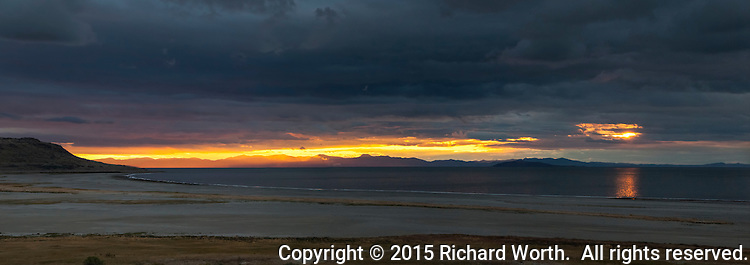 Sunset across the Great Salt Lake viewed from Antelope Island.