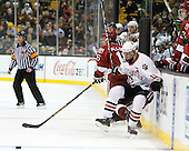 Alex Fallstrom (Harvard - 16), Steve Quailer (Northeastern - 10) - The Northeastern University Huskies defeated the Harvard University Crimson 4-0 in their Beanpot opener on Monday, February 7, 2011, at TD Garden in Boston, Massachusetts.