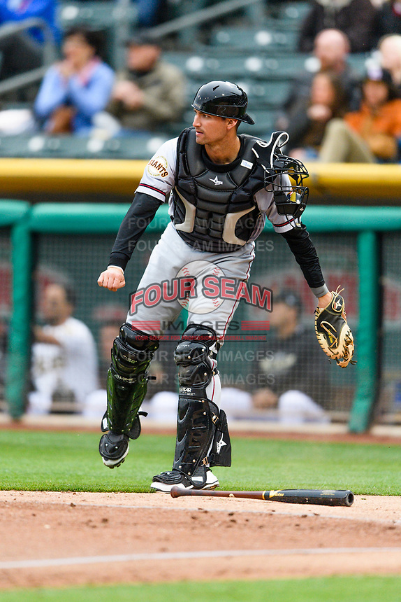 Jeff Arnold (19) of the Sacramento River Cats during the game against the Salt Lake Bees in Pacific Coast League action at Smith's Ballpark on April 11, 2017 in Salt Lake City, Utah. The River Cats defeated the Bees 8-7. (Stephen Smith/Four Seam Images)