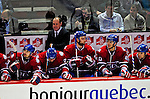 22 April 2009: Montreal Canadiens' Executive Vice President, General Manager, and Head Coach Bob Gainey looks out from behind the bench during Game 4 of the NHL Eastern Conference Quarterfinal game against the Boston Bruins at the Bell Centre in Montreal, Quebec, Canada. The Bruins advanced to the Eastern Conference Semi-Finals, eliminating the Canadiens from Stanley Cup competition with a 4-1 win and series sweep. ***** Editorial Sales Only ***** Mandatory Credit: Ed Wolfstein Photo