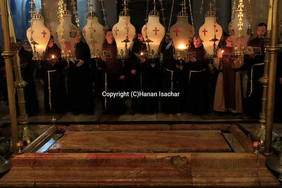 Israel, Jerusalem Old City, First Saturday of Lent ceremony by the Stone of Anointing at the Church of the Holy Sepulchre