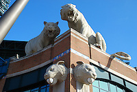 Comerica Park Entrance. Where the Detroit Tigers play Baseball. Comerica Park is a baseball stadium located in downtown Detroit, Michigan. It was finished in 2000 as a replacement for Tiger Stadium for the Detroit Tigers.