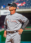7 April 2016: Miami Marlins Manager Don Mattingly  looks up at the crowd prior to the Washington Nationals Home Opening Game at Nationals Park in Washington, DC. The Marlins defeated the Nationals 6-4 in their first meeting of the 2016 MLB season. Mandatory Credit: Ed Wolfstein Photo *** RAW (NEF) Image File Available ***