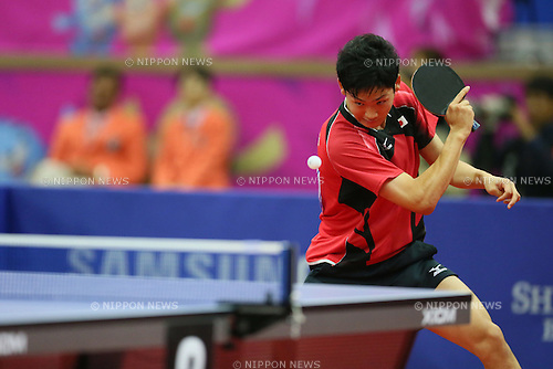Yuto Muramatsu (JPN), <br /> SEPTEMBER 29, 2014 - Table Tennis : <br /> Men's Team Semi-final <br /> at Suwon Gymnasium <br /> during the 2014 Incheon Asian Games in Incheon, South Korea. <br /> (Photo by Yohei Osada/AFLO SPORT)