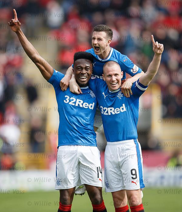 Joe Dodoo celebrates goal no 3 with Kenny Miller and Jason Holt