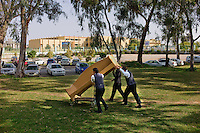 Tripoli, Libya, March 26, 2011..Amidst all the Khaddafi government's victory propaganda, the personel of an international 5 stars hotel housing foreign journalist has quietly started to remove all art works and furniture from the hotel.