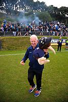 Auckland City's Arthur Egan celebrates after the Oceania Football Championship final (second leg) football match between Team Wellington and Auckland City FC at David Farrington Park in Wellington, New Zealand on Sunday, 7 May 2017. Photo: Dave Lintott / lintottphoto.co.nz