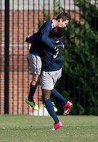 Bakie Goodman (20) of Georgetown celebrates his goal with teammate Joshua Yaro (5) during the second round of the NCAA tournament at Shaw Field in Washington, DC. Georgeotown defeated Old Dominion, 3-0.