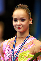 Marina Shpekt of Russia smiles during event final awards at 2006 Portimao World Cup of Rhythmic Gymnastics on September 10, 2006 at Portimao, Portugal.  (Photo by Tom Theobald)