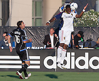Santa Clara, California - Saturday July 14, 2012: Real Salt Lake's Kwame Watson-Siriboe and San Jose Earthquakes' Alan Gordon in action during a game at Buck Shaw Stadium, Stanford, Ca     San Jose Earthquakes defeated Real Salt Lake 5 - 0.