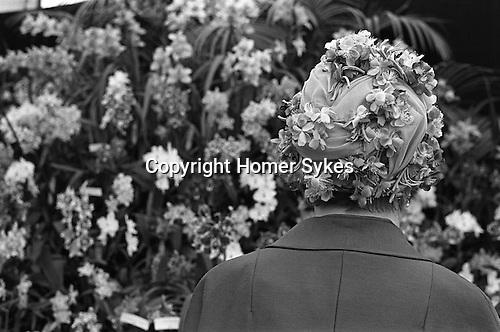 Chelsea, London. 1969<br /> A Chelsea Flower Show  floral hat.