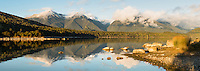 Lake Manapouri morning, Fiordland National Park, UNESCO World Heritage Area, Southland, New Zealand, NZ