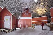 Various buildings under the old geodesic dome at Amundsen Scott South Pole Station in Antarctica in January, 2001. The dome and structures have been taken down, replaced by a new structure.