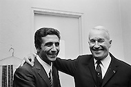 October 29th 1966, New York City, New York State, USA. French singers Gilbert Becaud and Maurice Chevalier in a dressing room at Longacre Theater in New York. Image by © JP Laffont