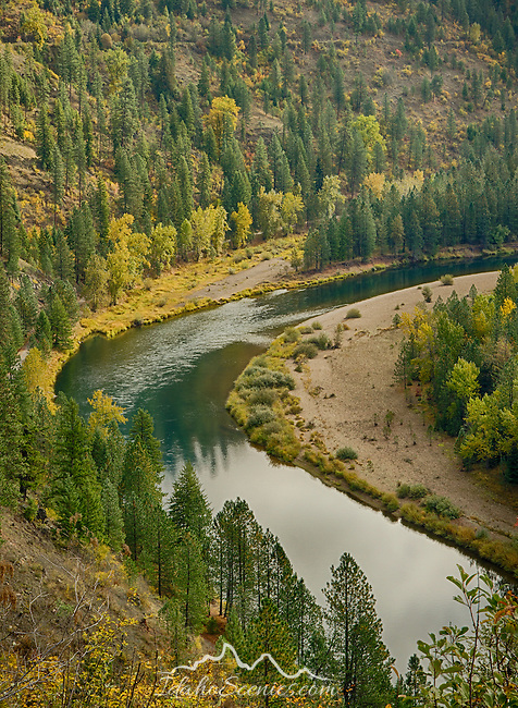 idaho, North, Kootenai County, Coeur d'Alene National Forest. A autumn view over the North Fork of the Coeur d'Alene River in the Coeur d'Alene District of the Idaho Panhandle national Forest.