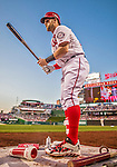 22 May 2015: Washington Nationals outfielder Bryce Harper tends to his bat while on deck during play against the Philadelphia Phillies at Nationals Park in Washington, DC. The Nationals defeated the Phillies 2-1 in the first game of their 3-game weekend series. Mandatory Credit: Ed Wolfstein Photo *** RAW (NEF) Image File Available ***