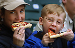 Lori Oswald and her son Nickolas, 6, sampled some of the fine pizza before the Beavers home opener at the new PGE Park in Portland.