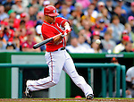 1 May 2011: Washington Nationals infielder Jerry Hairston Jr. connects for a sacrifice RBI fly against the San Francisco Giants at Nationals Park in Washington, District of Columbia. The Nationals defeated the Giants 5-2. Mandatory Credit: Ed Wolfstein Photo