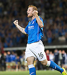 St Johnstone v FC Luzern...24.07.14  Europa League 2nd Round Qualifier<br /> Liam Caddis celebrates his penalty<br /> Picture by Graeme Hart.<br /> Copyright Perthshire Picture Agency<br /> Tel: 01738 623350  Mobile: 07990 594431