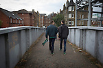 Hibernian 3 Alloa Athletic 0, 12/09/2015. Easter Road stadium, Scottish Championship. Home fans walking over the famous Crawford Bridge on their way to  Easter Road stadium before the Scottish Championship match between Hibernian and visitors Alloa Athletic. The home team won the game by 3-0, watched by a crowd of 7,774. It was the Edinburgh club's second season in the second tier of Scottish football following their relegation from the Premiership in 2013-14. Photo by Colin McPherson.