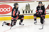 Autumn Prouty (NU - 10), Dani Rylan (NU - 2) - The Northeastern University Huskies tied Boston University Terriers 3-3 in the 2011 Beanpot consolation game on Tuesday, February 15, 2011, at Conte Forum in Chestnut Hill, Massachusetts.