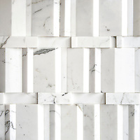Citt&agrave;, a stone mosaic from the Dimensioni Collection, shown in polished Calacatta, is part of The Studio Line and ready to ship in 48 hours.<br />