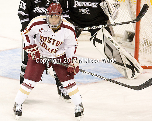 Quinn Smith (BC - 27) - The Boston College Eagles defeated the Providence College Friars 7-0 on Saturday, February 25, 2012, at Kelley Rink at Conte Forum in Chestnut Hill, Massachusetts.